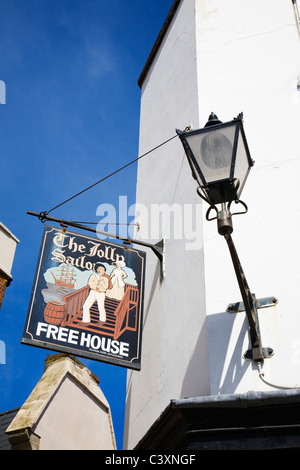 'The Jolly Sailor' public house sign in Blue Town, Sheerness, Isle of Sheppey, Kent. - Stock Photo