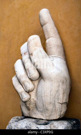 Hand of Emperor Constantine I the Great- fragment from the colossal statue exhibited in Capitoline museum- Rome - Stock Photo