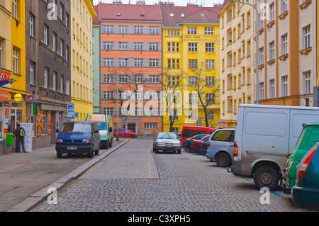 Biskupcova street late Winter / early Spring in Zizkov district Prague Czech Republic Europe - Stock Photo