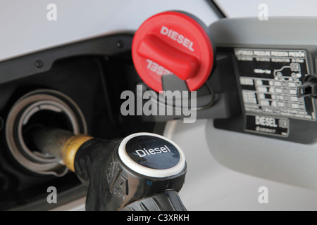 diesel fuel pump at a garage service station - Stock Photo