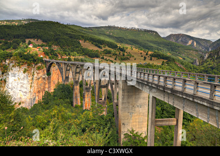 Durdevica arched Tara Bridge over green Tara Canyon. One of the world deepest Canyons and UNESCO World Heritage, - Stock Photo