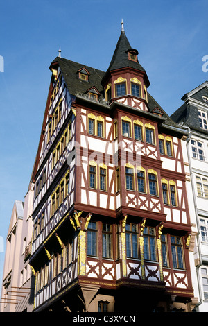Haus Grosser Engel (Great Angel House) at Römerberg Ostzeile (Eastern row of Samstagsberg) in Frankfurt am Main. - Stock Photo