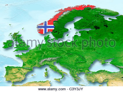 Europe Norway Flag Stock Photo Royalty Free Image Alamy - Norway map and flag