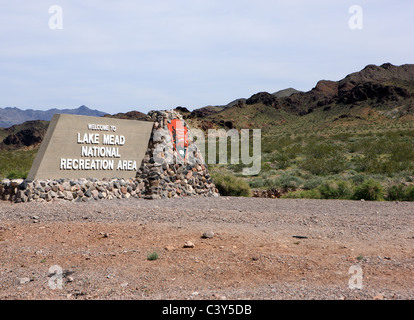 Entrance sign to Lake Mead National Recreation Area in the states of Arizona and Nevada in the USA - Stock Photo