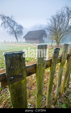 Thatched Cricket Pavilion, Stanway, Gloucestershire, Cotswolds, UK - Stock Photo