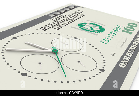 Time is Money. A Chronograph mounted on a 100 dollar bill. Perspective view. - Stock Photo