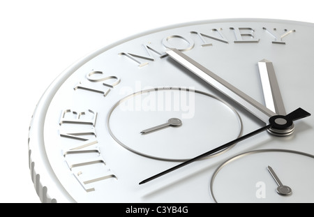 Time is Money. Perspective view of a Coin with a Clock - Stock Photo