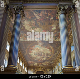 An interior view of The Painted Hall, Greenwich University, London. - Stock Photo