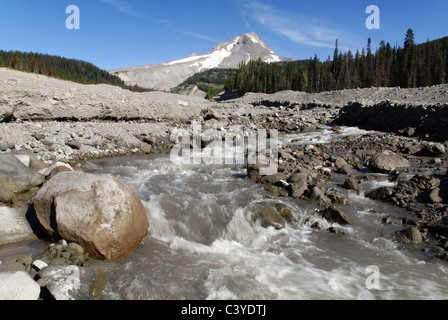 White River Gorge, volcano, Mount Hood, Cascade Range, Oregon, USA, America, American, cinder, brook, creek, mountain, - Stock Photo