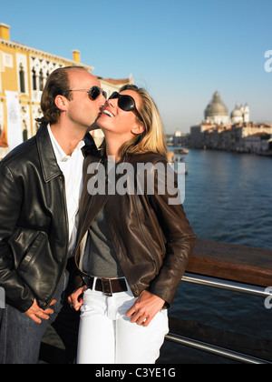 Couple kissing in venice, Italy - Stock Photo