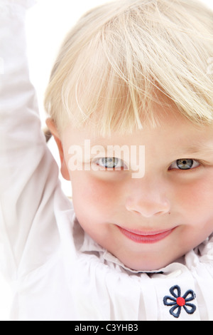 Cute little girl. Isolated on white. - Stock Photo
