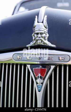 Bonnet insignia on a classic Rover saloon car - Stock Photo