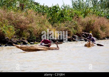 pirogues on lake tana, ethiopia, africa - Stock Photo