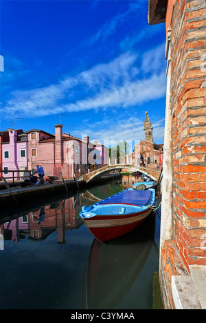 Italy, Europe, Burano Island, near Venice, Venezia, colorful, houses, lively, leaning tower, San Martino, church, - Stock Photo