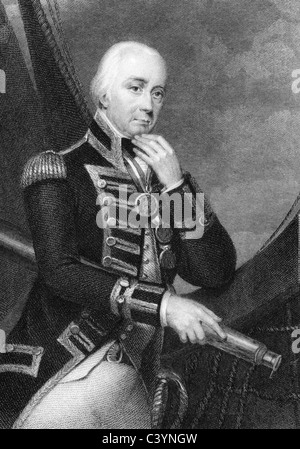Vice Admiral Cuthbert Collingwood, 1st Baron Collingwood (1748-1810) on engraving from 1832. Admiral of the Royal - Stock Photo