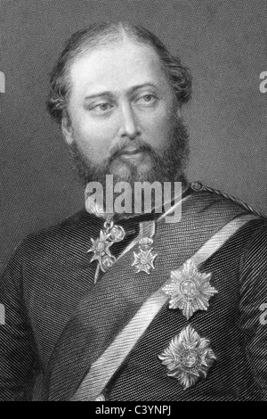 Edward VII (1841-1910) on engraving from 1800s. King of the United Kingdom of Great Britain and Ireland. - Stock Photo