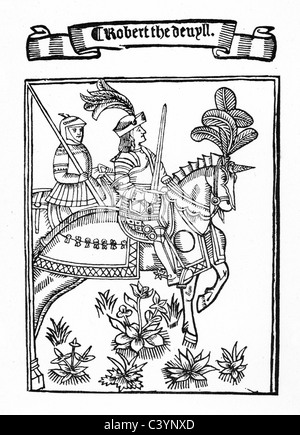 Medieval woodcut showing Robert the Devil, wearing a suite of armour and mounted on his horse - Stock Photo