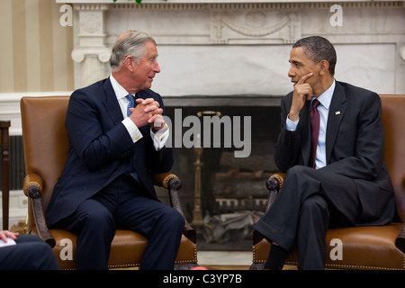 President Barack Obama meets with Prince Charles, Prince of Wales, in the Oval Office, May 4, 2011. - Stock Photo