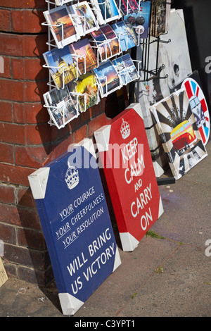 Postcards and canvases for sale outside Art Gallery in Brighton in May - Stock Photo