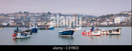 Fishing boats in St Ives Harbour, St Ives, Cornwall, England. Spring (March) 2011. - Stock Photo