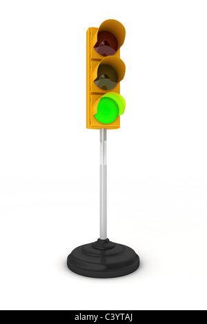 Traffic light showing green - Stock Photo