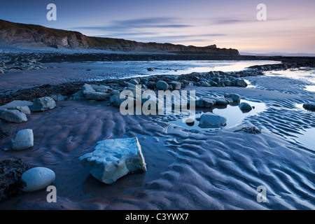 Twilight at Kilve Beach in the Quantocks, Somerset, England. Spring (April) 2011. - Stock Photo