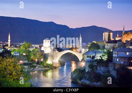 Bosnia Herzegovina, Mostar, Mostar, Old Town, bridge, in, evening - Stock Photo