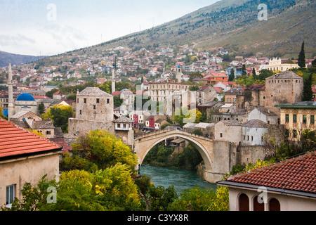 Bosnia Herzegovina, Mostar, Mostar, Old Town, bridge, - Stock Photo