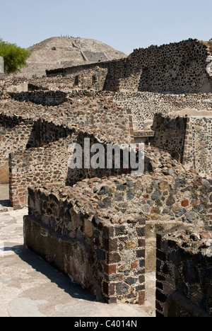 Archeological site of Teotihuacan (100BC-AD700).UNESCO World Heritage Site.The Palace of The Jaguars and The Pyramid - Stock Photo