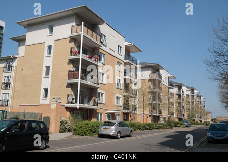 New flats (apartment blocks) near East India DLR station, East London, UK. - Stock Photo