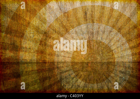 A dirty looking abstract, artistic grunge background illustration with concentric circles and rays. - Stock Photo