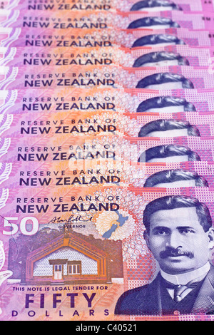 Dollar notes in New Zealand currency - Stock Photo