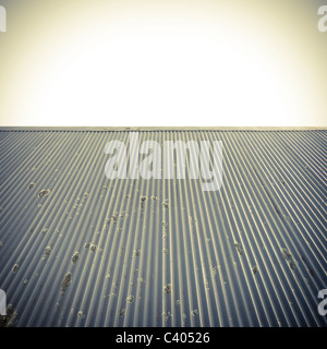 Metal roof and clear sky abstract background. - Stock Photo