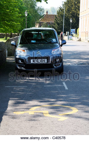 Disabled parking bays, Salisbury, Wiltshire England - Stock Photo