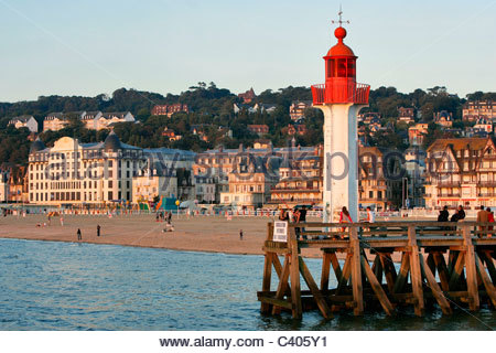 France, Normandy, Trouville sur Mer, lighthouse - Stock Photo
