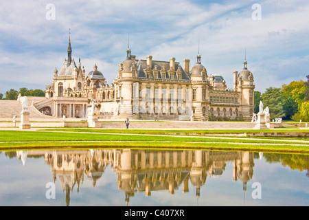 France, Europe, Villandry, Picardy, castle, world cultural heritage, water, reflection, park, - Stock Photo