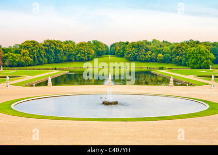 France, Europe, Picardy, Villandry, castle park, park, water, pond trees, world cultural heritage - Stock Photo