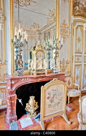 France, Europe, Picardy, Villandry, castle, world cultural heritage, Conde, museum, inside, chimney, fireplace, - Stock Photo