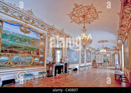 France, Europe, Picardy, Villandry, castle, world cultural heritage, Conde, museum, inside, way, walk, painting, - Stock Photo