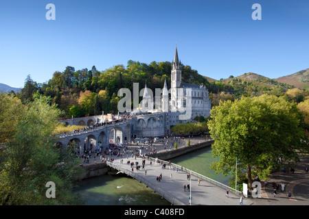 France, Europe, Lourdes, Pyrenees, religion, place of pilgrimage, church, basilica, religion - Stock Photo