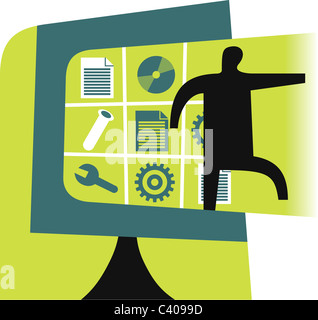 Illustration of a figure and graphic elements - Stock Photo