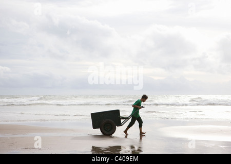 Man on Beach pulling Cart in sunset - Stock Photo