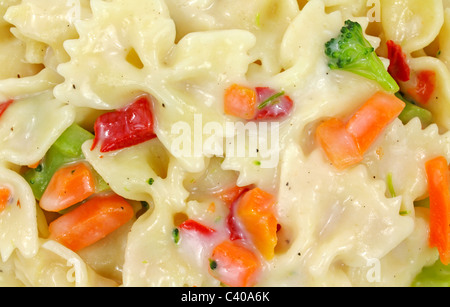 Bow tie pasta with vegetables in sauce - Stock Photo