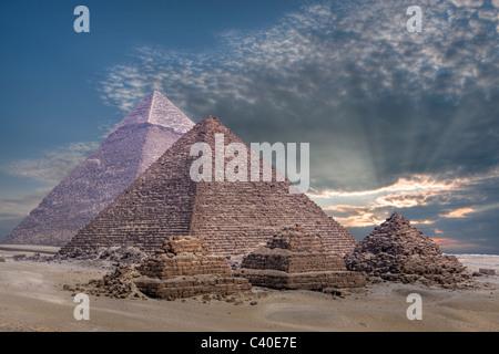 Pyramids of Giza, Cairo, Egypt - Stock Photo