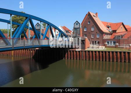 Heave bridge, bridge, Dortmund Ems canal, Hase, Meppen, Emsland, Lower Saxony, Germany, Europe - Stock Photo