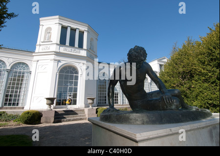 Sculpture of the Dying Gaul (replica) at the orangery in Putbus, Ruegen Island, Mecklenburg-Western Pomerania, Germany - Stock Photo