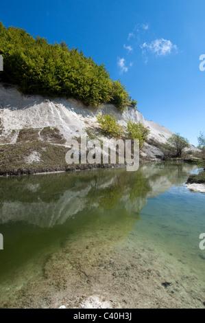 former chalkstone goaf with lake in Sassnitz  Mecklenburg-Pommerania, Isle of Rügen, National Park Jasmund, Sassnitz - Stock Photo