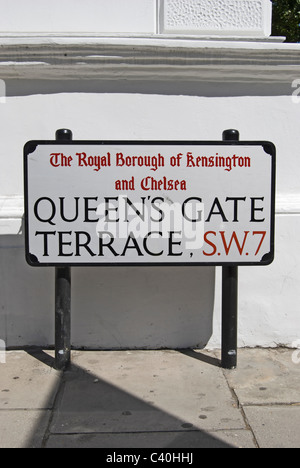 street name sign for queen's gate terrace, in the borough of kesnington and chelsea, london, england - Stock Photo