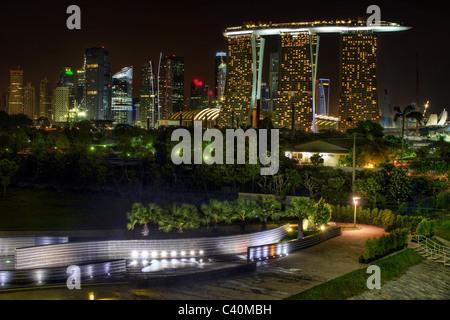 Singapore Skyline View from Marina Barrage at night - Stock Photo