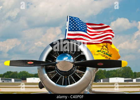 WWII fighter plane flying the American flag and the Gadsden flag that reads 'Don't Tread on Me' - Stock Photo